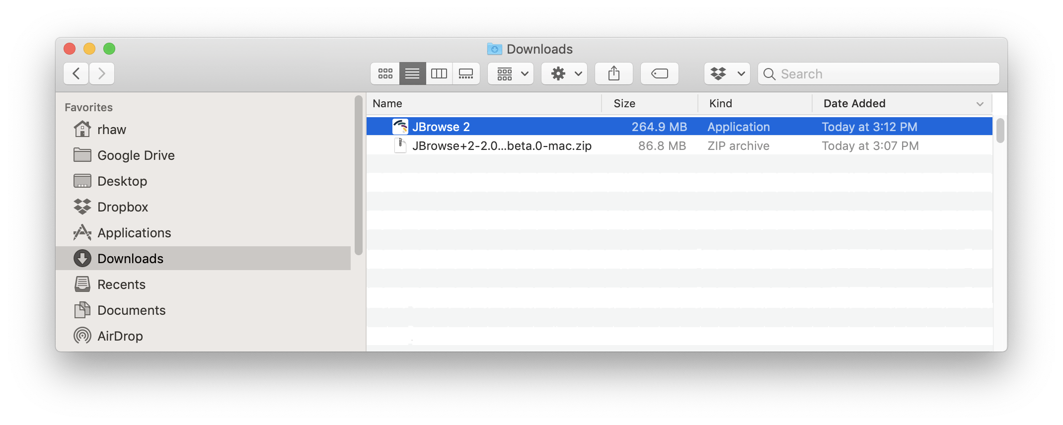 Screenshot of the Finder window showing the downloaded zip file and unzipped contents