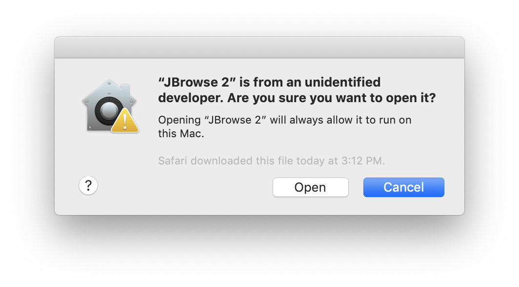 Screenshot of the 'open app from unauthorized developer' after right-clicking and selecting 'open'