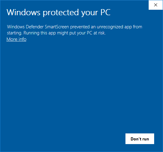 You can skip windows protection to run the app by clicking the 'More info...' link