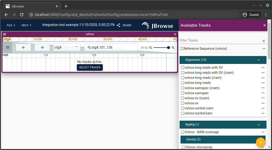 JBrowse 2 screen with a sample configuration